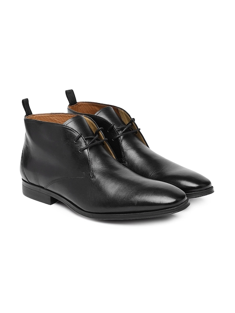 Clarks Men Black Gilman Solid Leather Mid-Top Flat Boots
