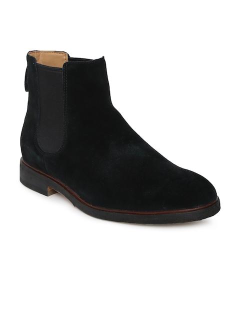 Clarks Men Black Clarkdale Suede Mid-Top Flat Boots