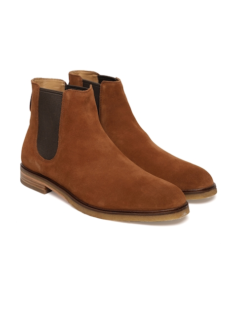 Clarks Men Tan Brown Solid Suede Mid-Top Flat Boots