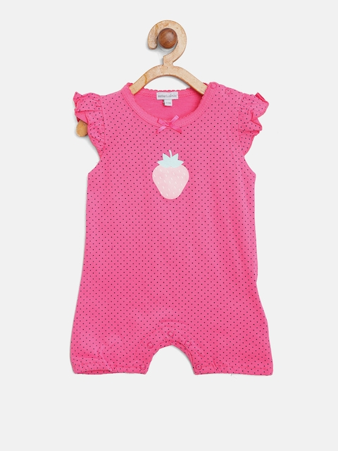 Mothers Choice Girls Pink Polka Dot Print Rompers