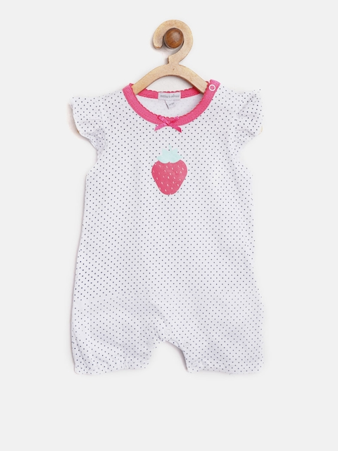 Mothers Choice Girls White Polka Dot Print Rompers