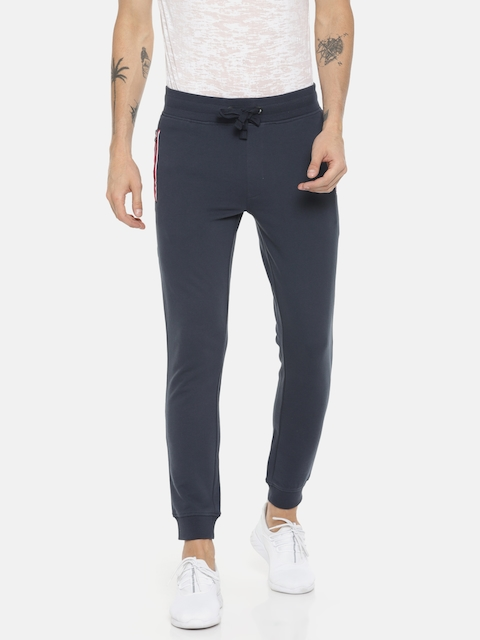 Jack & Jones Men Navy Blue Solid Joggers