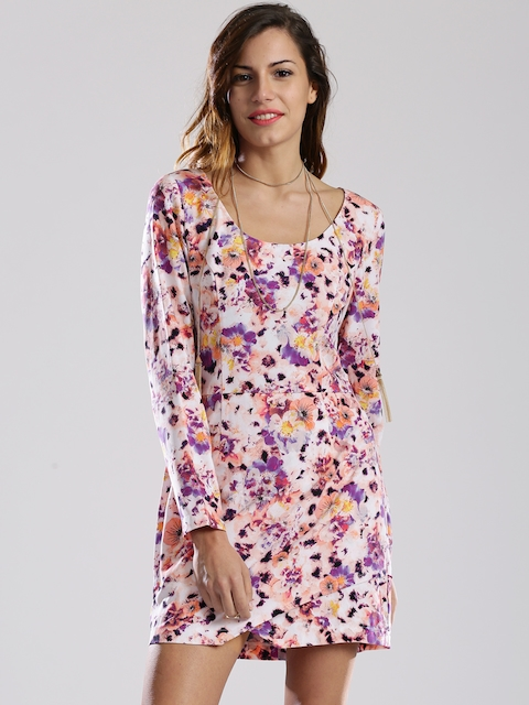 GUESS Off-White & Purple Printed Fit & Flare Dress