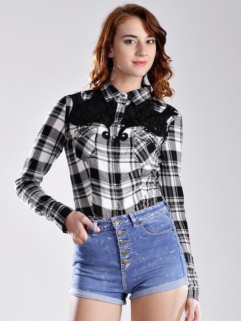 GUESS Black & White Checked Shirt