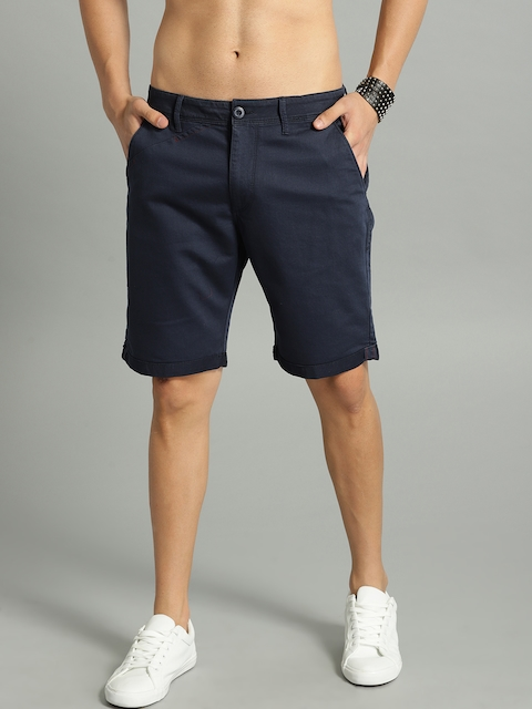 Roadster Men Navy Blue Solid Chino Shorts