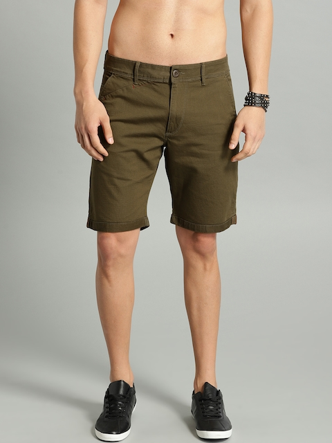 Roadster Men Olive Green Solid Regular Fit Chino Shorts