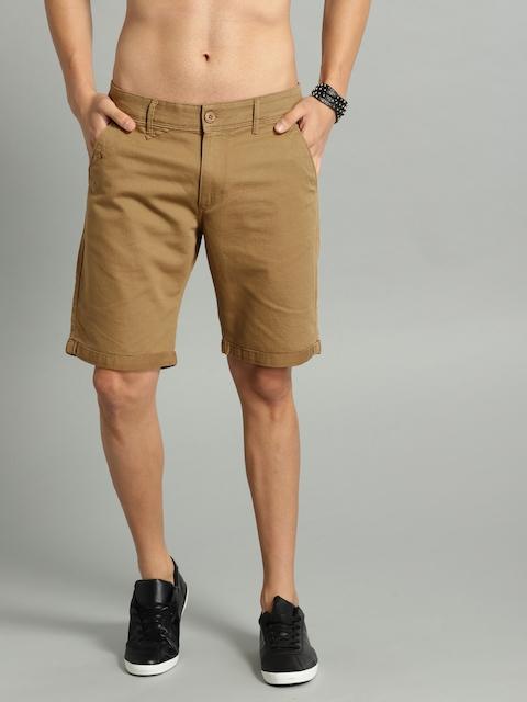 Roadster Men Khaki Solid Regular Fit Chino Shorts