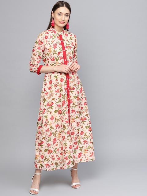 RARE ROOTS Women Off-White & Red Printed Maxi Dress