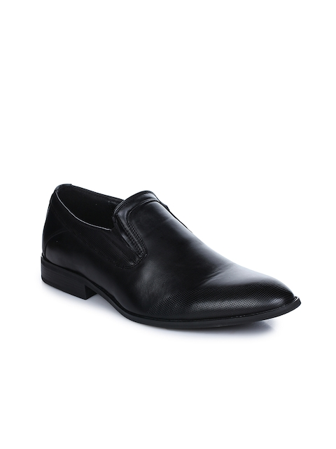 ee7c49fbab4 37%off Aber   Q Men Black Leather Formal Slip-Ons