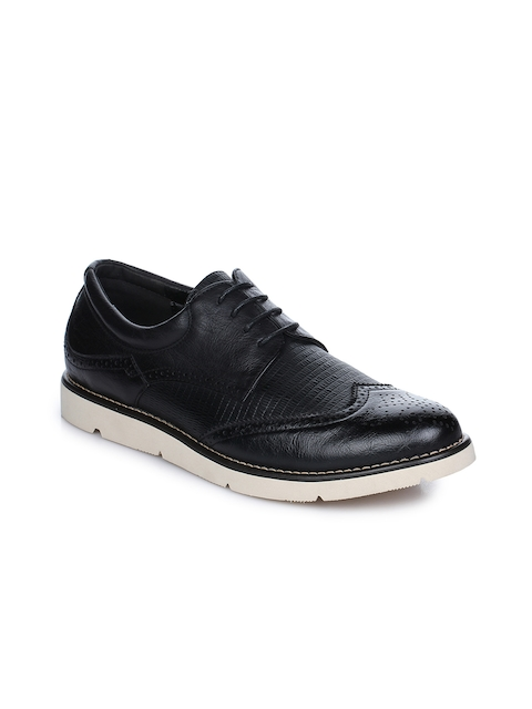 Aber & Q Men Black Textured Leather Formal Brogues
