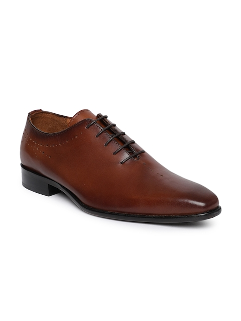 Tresmode Men Tan Brown Leather Formal Oxfords