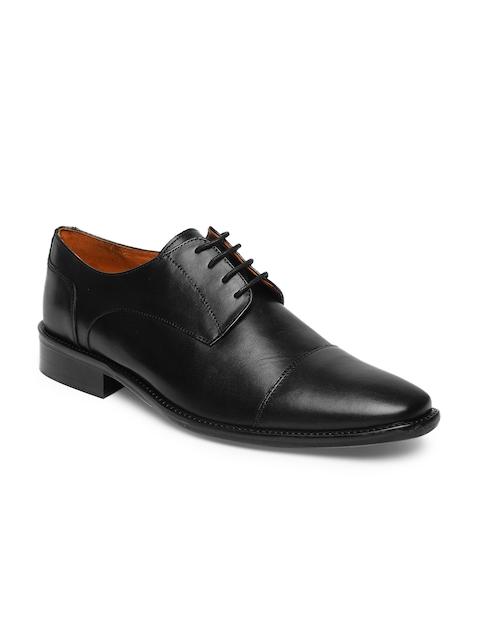 Tresmode Men Black Formal Leather Derby Shoes