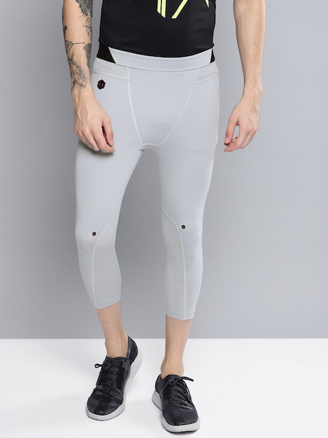 UNDER ARMOUR Men Grey Solid Rush 3/4th Tights