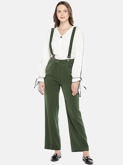 Khwaab Women Green Solid Dungarees