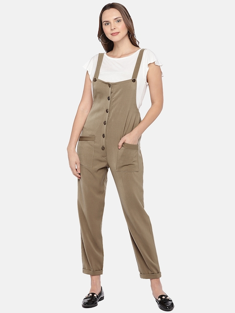 Khwaab Women Beige Solid Dungarees