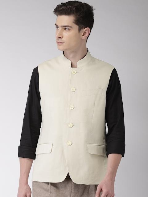 Arrow Men Beige Solid Body Tailored Fit Linen Nehru Jacket