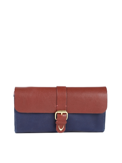 Hidesign Women Tan Brown & Blue Colourblocked Leather Two Fold Wallet