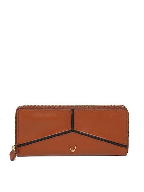 Hidesign Women Tan Brown Solid Zip Around Leather Wallet