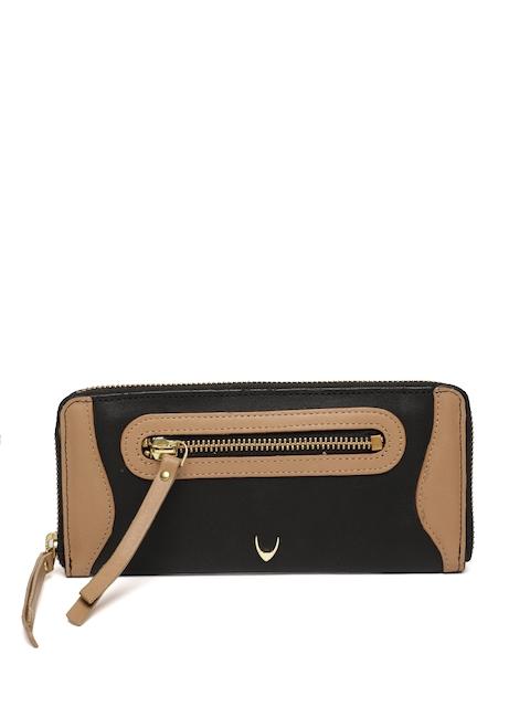 Hidesign Women Black & Brown Solid Zip Around Leather Wallet