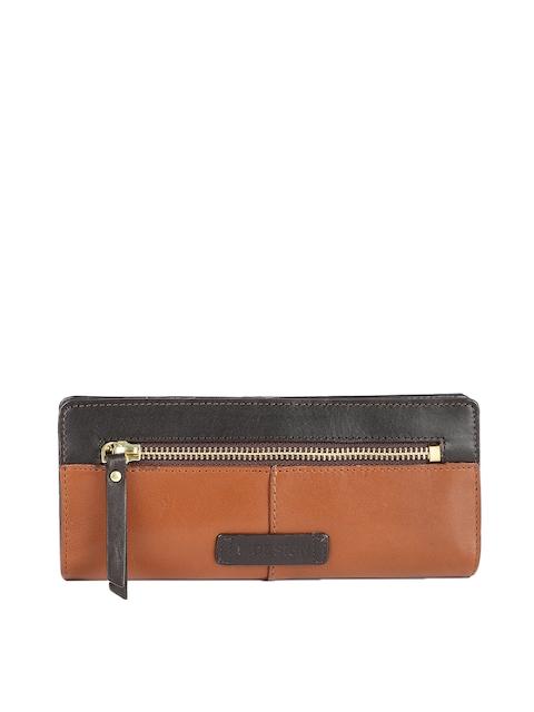 Hidesign Women Tan Brown & Black Colourblocked Leather Two Fold Wallet
