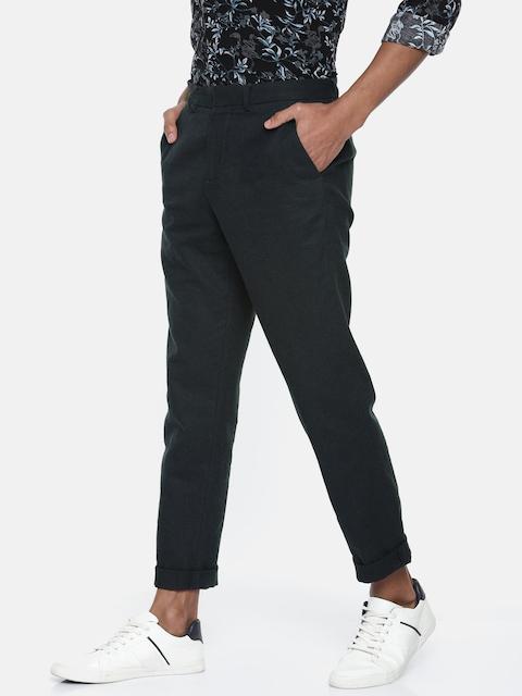 Jack & Jones Men Blue Slim Fit Solid Trousers