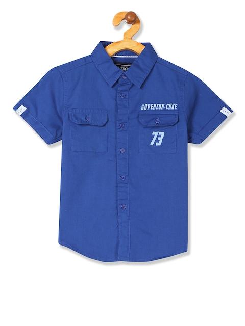 Cherokee Boys Blue Regular Fit Solid Casual Shirt