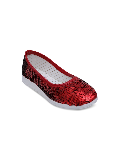 DChica Girls Red Solid Ballerinas