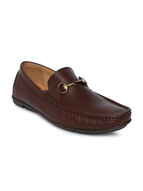 Arrow Men Brown Solid Leather Semi-Formal Loafers