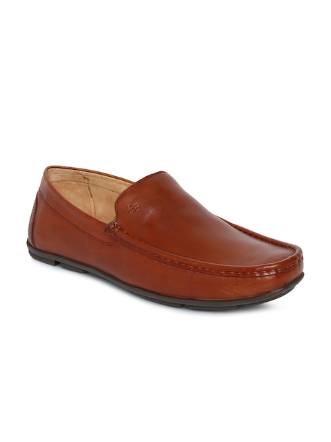 Arrow Men Tan Brown Solid Leather Semi-Formal Loafers