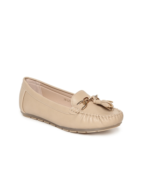 Addons Women Nude-Coloured Tasselled Loafers
