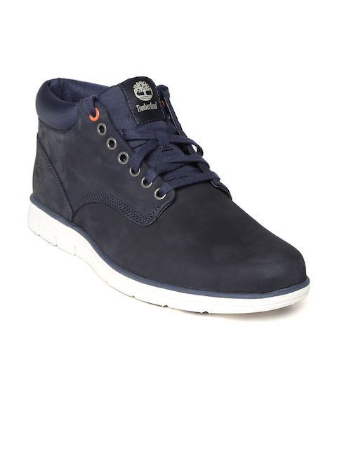 Timberland Men Blue Solid Suede Mid-Top Flat Boots