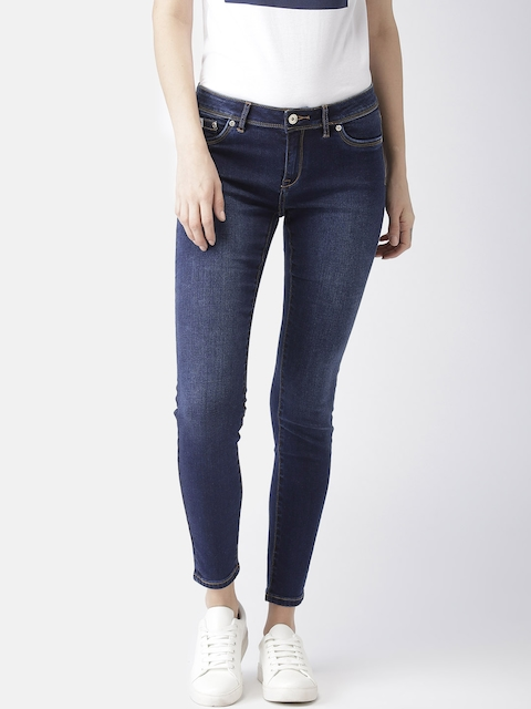 Superdry Women Blue Alexia Super Skinny Fit Mid-Rise Clean Look Stretchable Cropped Jeans