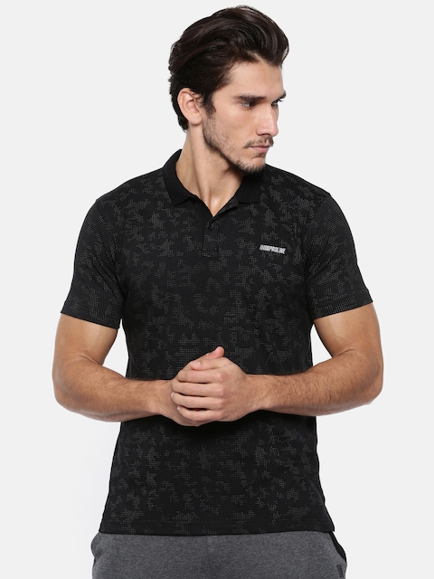 Proline Men Black Printed Polo Collar T-shirt