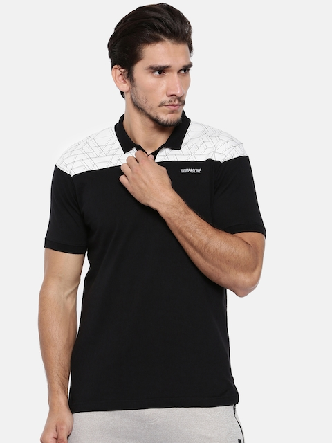 Proline Men Black & Off-White Colourblocked Polo Collar T-shirt