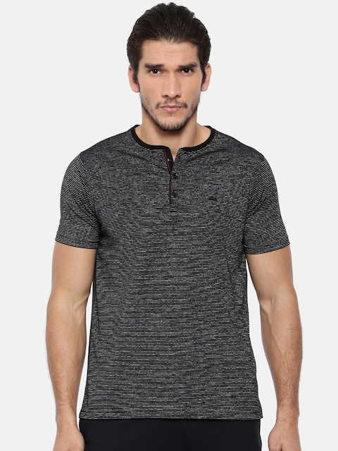 Proline Men Black Striped Henley Neck T-shirt