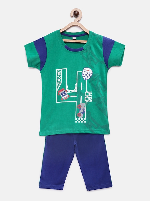 Just4you Boys Green & Blue Printed Night suit 18112-Green