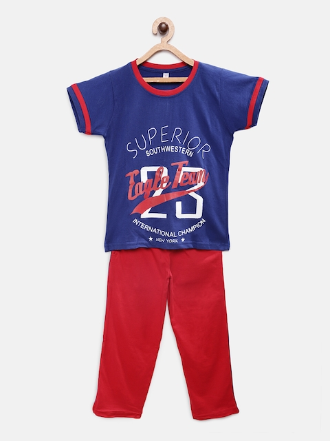 Just4you Boys Blue & Red Printed Night suit 18116-Blue