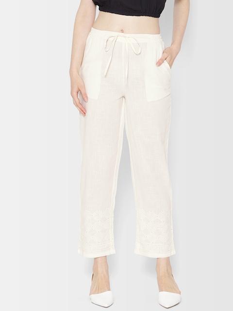 Fabindia Women Off-White Hem Design Straight Palazzos