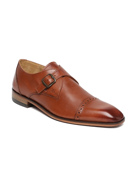 Raymond Men Brown Formal Leather Monk Shoes