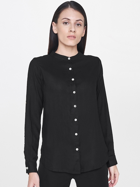 AND Women Black Regular Fit Solid Casual Shirt