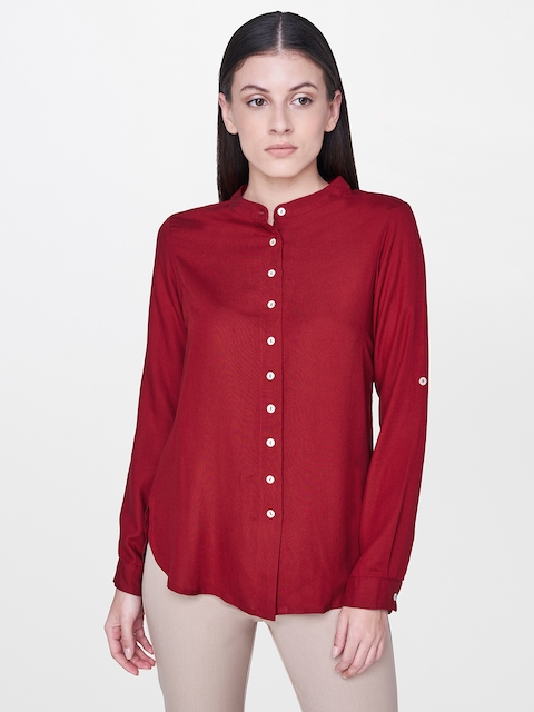 AND Women Maroon Regular Fit Solid Casual Shirt