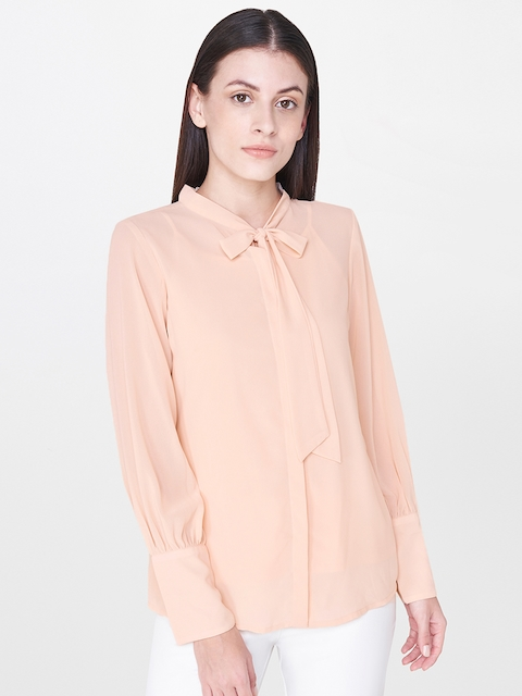 AND Women Peach-Coloured Regular Fit Solid Casual Shirt