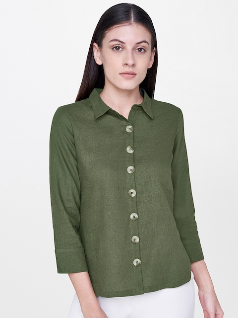 AND Women Olive Green Regular Fit Solid Casual Shirt
