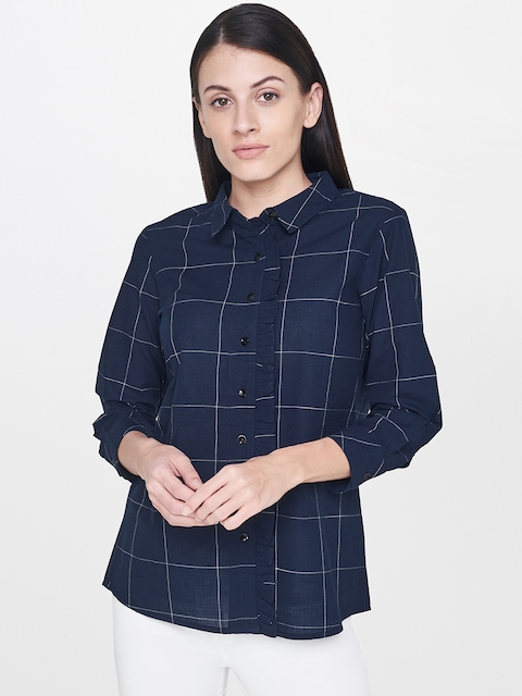 AND Women Navy Blue Checked Shirt