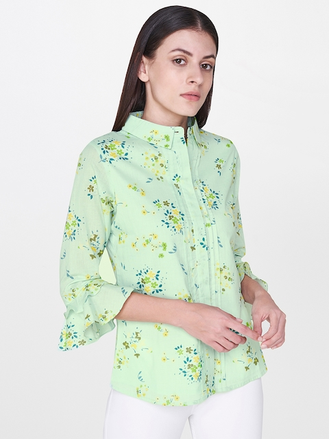AND Women Green & Yellow Regular Fit Printed Casual Shirt