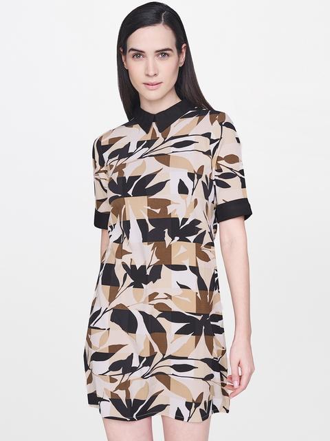AND Women Beige & Black Printed Sheath Dress