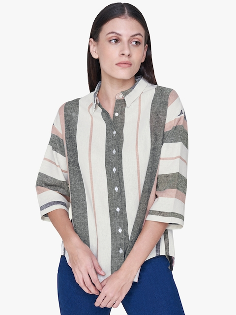AND Women Off-White & Black Boxy Striped Casual Shirt