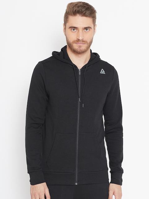 Reebok Men Black Solid WOR MEL Double Knit FZ Hooded Sweatshirt