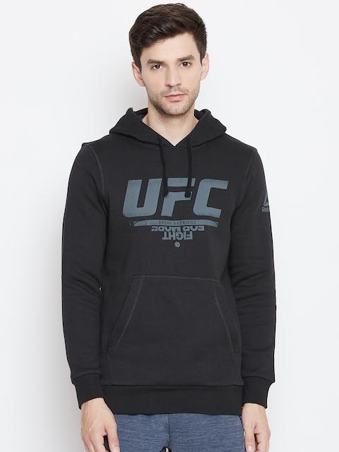 Reebok Men Black Printed UFC Fan Gear Hooded Sweatshirt