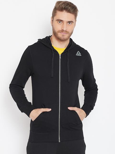 Reebok Men Black Solid Training Essentials FZ Hooded Sweatshirt